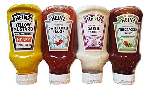 Heinz - Juego de salsas, petardo mexicano, salsa de ajo estilo turco, chile dulce, mostaza amarilla miel y mostaza. Selección de tamaño práctico 4 botellas de 220 ml para darle vida a tu mesa.