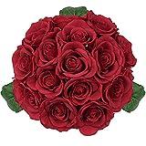 Red Rose Flowers Artificial Rose Wedding Bouquet Romantic Bridal Bouquet Hydrangea Centerpiece DIY Floral for Home Garden Decoration-Red Rose