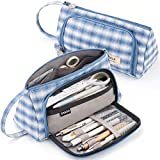 CICIMELON Pencil Case Large Capacity Pencil Pouch Handheld Pen Bag Gift for Office School Teen Girl Boy Men Women Adult - Light Blue Plaid