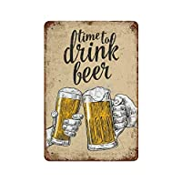ビールを飲む時間 さびた錫のサインヴィンテージアルミニウムプラークアートポスター装飾面白い鉄の絵の個性安全標識警告アニメゲームフィルムバースクールカフェ40cm*30