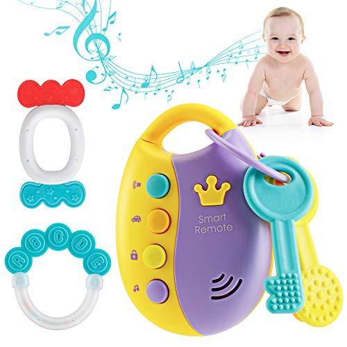 Anpole Baby Spielzeug Musikspielzeug für Kinder & 2 Stücke Beißring für Babys, Musikalischer Autoschlüssel Spielzeug mit Ton und Licht, Frühes Lernspielzeug ab 6 9 12 Monaten