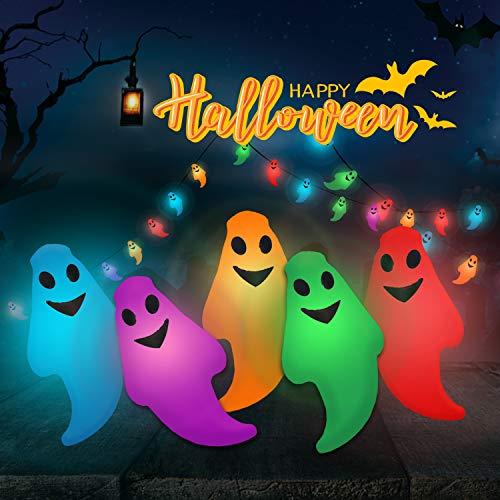 PUTRON Halloween Lights, PTN Luci della Stringa Fantasma, 6M 40LED Luci da Esterno a Corda, Ghirlanda di luci, modalità Lampo a Batteria per la Decorazione di Halloween per Le Feste