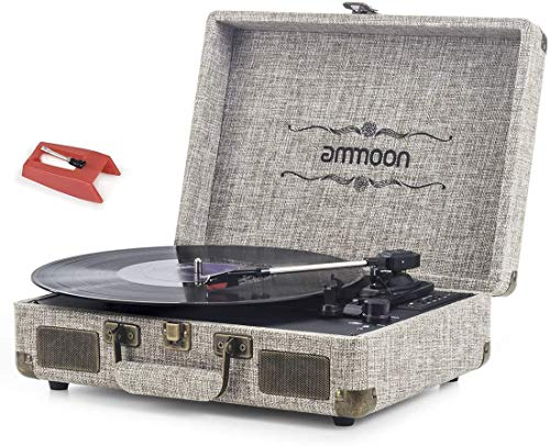 Vinyl Record Player, ammoon 3 Speed Turntable Blue Tooth Record Player with 2 Built in Stereo Speakers, Replacement Needle, Supports RCA Line Out, AUX in, Headphone Jack, Vintage Suitcase (Brown)