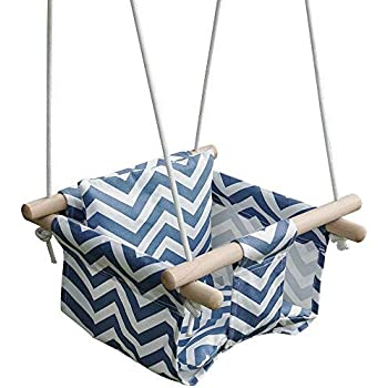 Freesa Childrens Swing Baby Toddler Canvas Swing Suspension Seat with Seat Cushion Indoor Outdoor Activities Seat Belt High Back Seat Coax A Child Bring Children Joy Us Fast Shipment