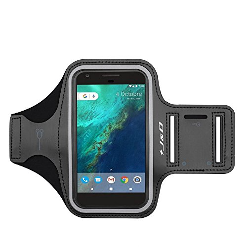 J&D Armband Compatible for Google Pixel/Pixel 3a/Pixel 3/Pixel 2/Pixel 4/Pixel 4a/Pixel 4a 5G/iPhone XR Armband, Running Armband Sports Armband with Key Holder Slot and Earphone Connection, Black