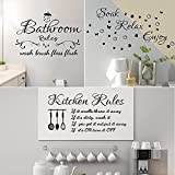 3 Sheets Bathroom Wall Decals Kitchen Decals for Wall Soak Relax Enjoy Wall Sticker Decor Background Decor Vinyl Inspirational Saying Quotes Wall Art Decor for Living Room Bathroom (Black)