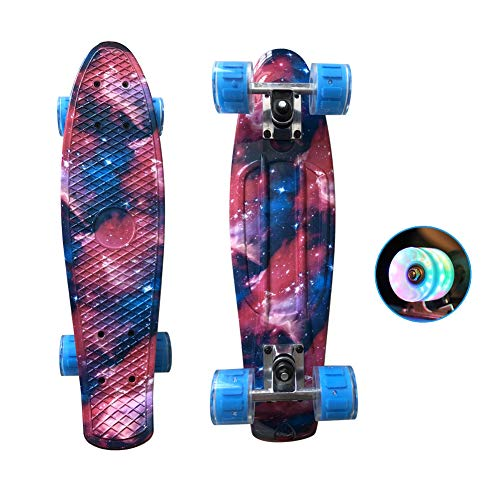 YULINGSTYLE Penny Board, 22 inch Skateboard ist Geeignet für Skateboard Kkinder ab 8 Gahre, Street Outdoor Sports Flashing Penny Board Pastel für Kinder (Colorful-1)
