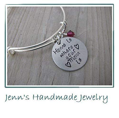 """Hand-Stamped Bangle Bracelet""""Home is where your Mom is"""" with your choice of bead"""