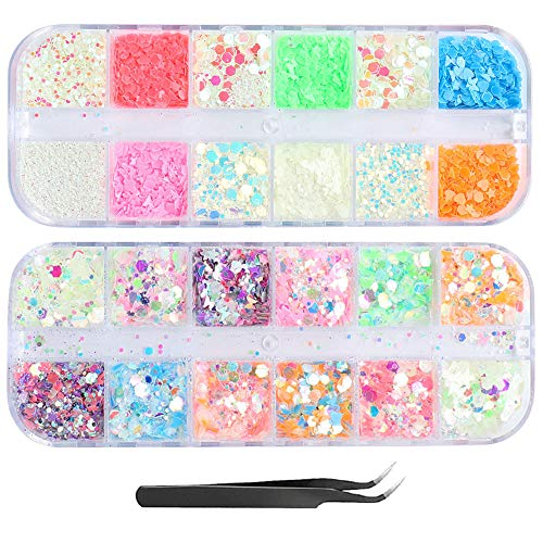 JMEOWIO 3D Luminous Nail Glitter Sequins Set - 2 boxes 2021 New Laser Butterfly Star Flower Nail Sequin Acrylic Paillettes Holographic Nail Sparkle Glitter for Nail Art Decoration(Type 3)