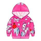 Fille Pull Licorne Imprimé Sweat a Capuche Zipper Manteau Veste Vêtements Rose Cadeau pour Enfants, 10 Licorne Rouge, 3-4 ans