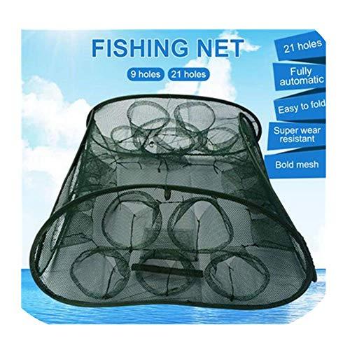 Nearthuk Netz-Angelnetz - gefaltete Krabbenfalle Tragbare Krebsfische Fangen Freischaltung Angelnetz - strapazierfähiges Netzgewebe Fischfangnetz, 21