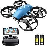 Potensisk FPV RC Mini-drone med HD-kamera, 2 batterier, bærbart quadrocopter 2.4G 6-akset fjernkontroll, høyde, hodeløs modus, hastighetsmodus, en-tasters start / landing, avtakbart batteri A30W - blå