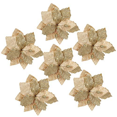 BELLE VOUS Flor de Pascua Artificial Navidad (Pack de 6) Poinsettia Artificial 32 cm Purpurina Dorada con Tallo para Adorno Árbol Navidad - Flores Artificiales Manualidades - Guirnalda Flor de Pascua
