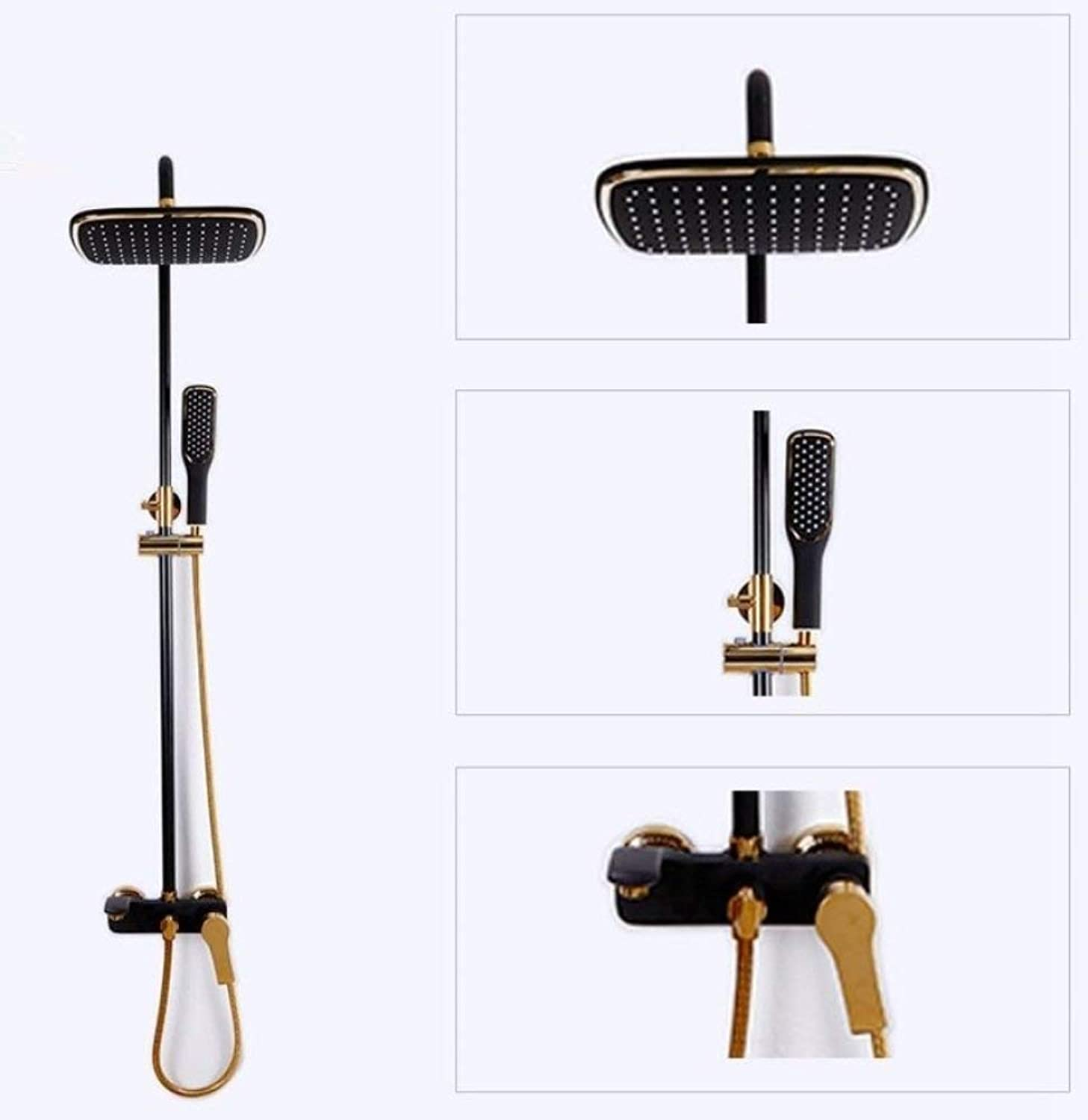 The Luxury Bathroom Full of Black Copper rain Shower Mixer Combo Set Inssizetion Wall of rain Shower Head System, Multi-Functional Adaptation Faucet Shower