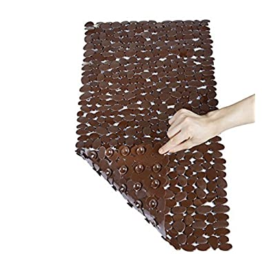 NTTR Non Slip Bath Mat Anti Bacterial Tub Mat Pebbles Bathtub Mats,Slip Resistant Shower Mats,Machine Washable(Brown,16 W x 35 L Inches)