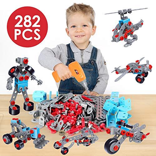 12 in 1 constructie gebouw speelgoed elektrische boor sets, creatieve puzzels montage 3d diy speelgoed, 282 stuks montessori speelgoed mozaïek speelgoed geschenken