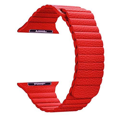 Maker Cinturini Loop in Pelle con Chiusura Magnetica Compatibile con Apple Watch Series 5/4/3/2/1-L/M (44/42mm,Rosso)