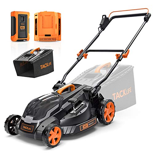TACKLIFE Lawn Mower, 16'' Cordless Lawn Mower, Brushless Motor, 40V Max 4.0Ah Battery and Charger, 6 Mowing Heights, Quick Folding for Vertical Storage