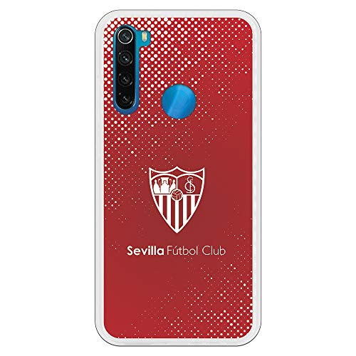 Funda para Xiaomi Redmi Note 8 Oficial del Sevilla FC Sevilla Trama y Escudo Blanco para Proteger tu móvil. Carcasa para Xiaomi de Silicona Flexible con Licencia Oficial del Sevilla FC.