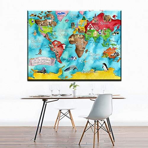 hetingyue Antike Weltkarte Plakat Kunstdruck dekorative Malerei Retro-Malerei Kinderzimmer Wanddekoration rahmenlose Malerei 30x45cm