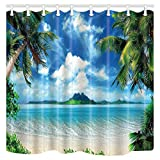 Shocur Beach Shower Curtain, Tropical Palm Trees and Cool Seawater Island Landscape, 70 x 82 Inches Summer Theme Bath Curtain, Polyester Fabric Bathroom Decor Set with 12 Hooks