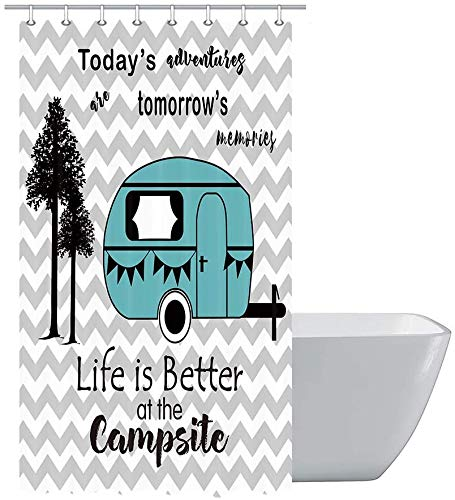 Camper RV Shower Curtains, Trailer Travel with Tree on Chevron Zig-Zag Stripes Camping Fabric Shower Curtain for Travel Trailers, Happy Camp Decorations Bathroom Set Decor Hooks Included 47x64inches