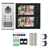 Videoportero, Telefonillo, Kit de Timbre con Video con Monitor en Color de 7 Pulgadas 2 RFID y cámara IR-Cut Visión Nocturna Charla bidireccional y Video en Tiempo Real(UE)
