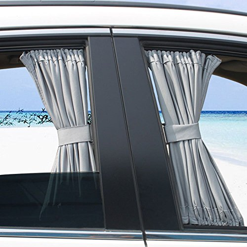 LanXi® Allgemeinen Auto Vorhang Auto Sonnenschutzrollos Sonnenschutz Webart Auto-Mesh-Fenster Sonnenschutzvorhang (70 Gr.L+Grau)