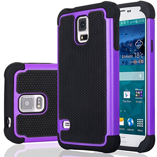Galaxy S5 Case, Samsung S5 Cover, Jeylly Shock Absorbing Hard Plastic Outer + Rubber Silicone Inner Scratch Defender Bumper Rugged Hard Case Cover for Samsung Galaxy S5 S V G900 - Purple