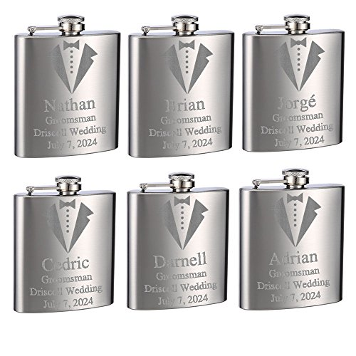 Top Shelf Flasks Personalized Custom Engraved 6oz Stainless Steel Groomsman Tuxedo Flasks for Weddings, True Metal Etching Lasts a Lifetime, Set of 6