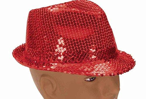 Forum Novelties 66124 Chapeau Fedora à paillettes Rouge Polyester