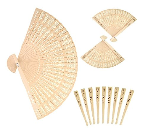 Peicees 24pcs Sandalwood The Hollow Out Printing Craft Fan for Wedding Favors & Gift