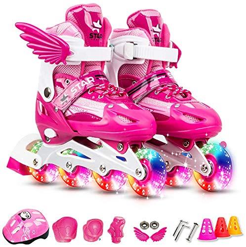 Lixada Verstellbar Inline-Skates mit leuchtenden Rädern für Kinder und Erwachsene Inline-Skates mit Schutzausrüstung Knieschützer Ellbogenschützer Helm-Skating-Zubehör für Damen/Herren