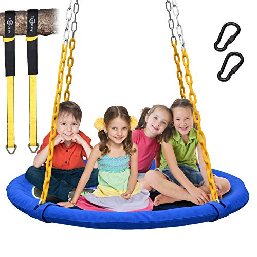 """Trekassy 1000lbs 40"""" Saucer Tree Swing for Kids Adults with Heavy Duty Chains Plastic Coated, Textilene Wear-Resistant and 2pcs 10ft Tree Hanging Straps"""