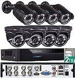 Tonton 8CH Full HD 1080P TVI Sistema de videovigilancia Grabadora DVR HDMI con 8 x 1080P Cámara de Seguridad para Exteriores, 20M de visión Nocturna, Posible grabación de Sonido sin HDD