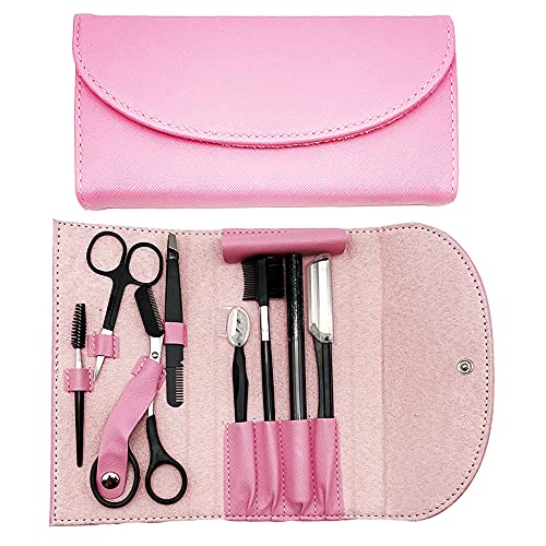 Maquinilla de afeitar de cejas,kit de cejas 8 en 1,maquinilla de afeitar multiusos para mujeres,que incluye maquinilla de afeitar,tijeras,pinzas,cepillo de cejas,exquisita bolsa de almacenamiento