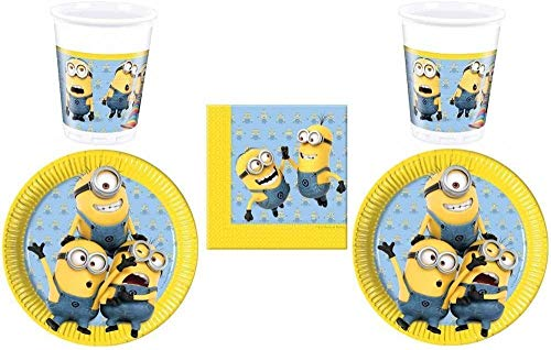 52-teiliges Party-Set Minions - Lovely Minions - Teller Becher Servietten für 16 Kinder