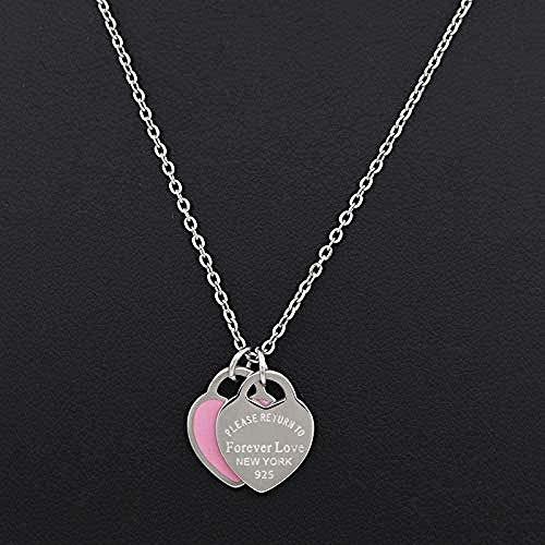 BACKZY MXJP Halskette Liebe Halskette Doppelherz Emaille Dame Für Immer Liebe Edelstahl Halskette Drift Flaschen Schmuck Geschenk Für Frauen