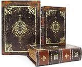 Jolitac Cajas decorativas para libros con diseño antiguo y caja invisible, con cubierta magnética,...