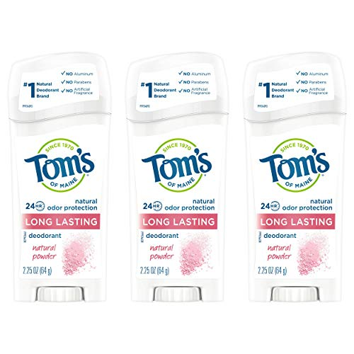 Tom's of Maine Long-Lasting Natural Deodorant, Aluminum Free Deodorant, Deodorant for Women, Natural Powder, 2.25 Ounce, 3-Pack