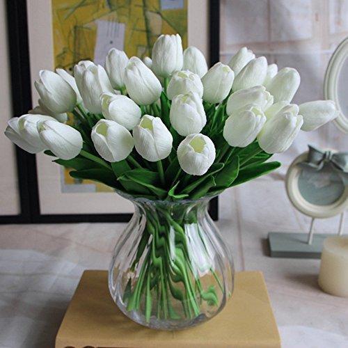 Amkun 10pcs Realistic PU Artificial Holland Tulip Flowers Life-like Faux Bouquet Arrangements for Home Kitchen Living Room Dining Table Wedding Centerpieces Decorations (White)