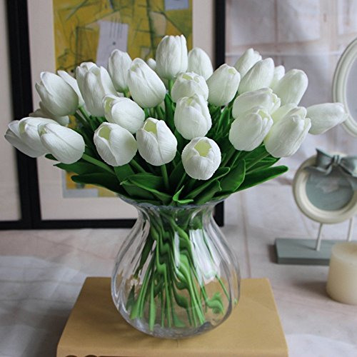 Amkun 10 Piezas de Flores Artificiales de Tulipan de Poliuretano Realista, Ramo de Imitacion, arreglos para el hogar, Cocina, Salon, Comedor, Mesa de Boda, centros de Decoracion