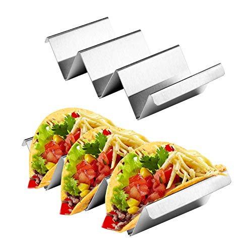 Taco Holder Stands with Handle - 2 Pack Stainless Steel Taco Shells Tray Rack - Dishwasher, Oven, Grill Safe
