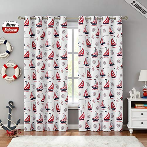 """Beauoop Nautical Bedroom Curtains 63 Inches Kid Child Blackout Curtains Juvenile Sailboat Print Light Blocking Soundproof Drapes Ring Grommet Top Window Treatment, 2 Panels, 52"""" W x 63"""" L, Red/White"""