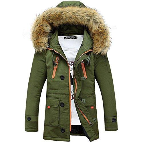 ShallGood Winterjacke Herren Parka Gefüttert Baumwolle Mantel mit Pelzkragen Jacke Warm Outdoor Kapuzenjacke mit Fell