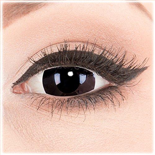 Farbige Mini Sclera Halloween Kontaktlinsen 'Black Out' - 17mm MeralenS Horror Lenses inkl. Behälter - 1Paar (2 Stück)