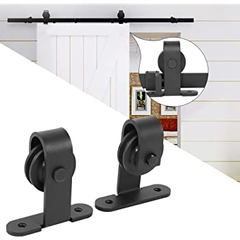 Riel para puerta corredera, puerta corredera de chapado, kit accesorios para la puerta de la casa, carga máxima 100 kg, negro: Amazon.es: Bricolaje y herramientas