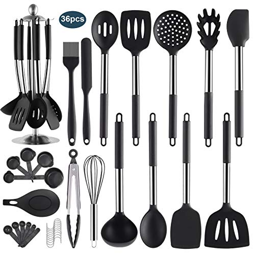 36PCS Stainless Steel Silicone Kitchen Cooking Utensil Set with Holder for Countertop, RCXHIKER Kitchen Utensil Spatula Set with Utensil Stand for Nonstick Cookware, BPA Free Non-Toxic (Black)