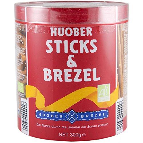 HUOBER Bio Sticks & Brezel, große Dose mit Salzstangen und Brezeln zum Anbieten, 300 g