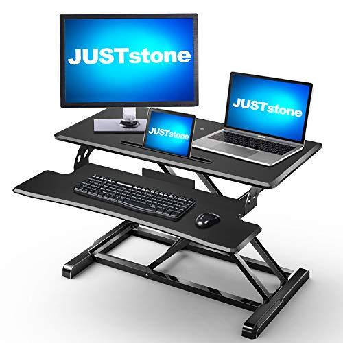 Standing Desk Converter Computer Workstation Adjustable Height, JUSTSTONE 32 inches Stand Up Desk...